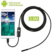 Pancellent 5.5mm Endoscope Support Micro USB Android Smartphone Borescope IP67 Waterproof Inspection Camera with 3.5M Cable and 6 LED Light(Update Version)