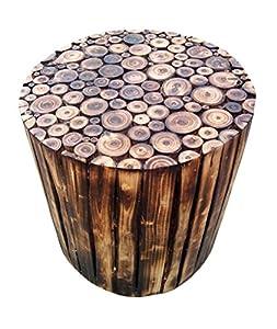 The Woods Hut Round Log Stool (Wood)