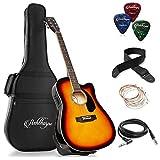 Ashthorpe Full-Size Cutaway Thinline Acoustic-Electric Guitar Package - Premium Tonewoods - Sunburst
