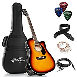 Ashthorpe Full-Size Cutaway Thinline Acoustic-Electric Guitar Package – Premium Tonewoods – Sunburst