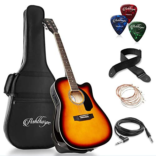 Ashthorpe Full-Size Cutaway Thinline Acoustic-Electric Guitar Package - Premium Tonewoods - Sunburst (Best Mid Range Acoustic Guitar)