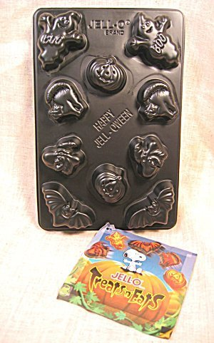 Jigglers Mold: Halloween Creepy Jigglers Jell-o Gelatin Chocolate Mint Candy Mold ~ 10 Cavity 5 Shapes ~ Pumpkin Ghost Witch Cat Bat -