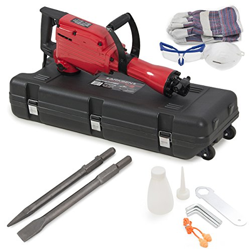 ARKSEN 2200W Electric Demolition Jack Hammer Concrete Breaker Punch & Chisel Bits Portable Heavy Duty with Case Kit ()