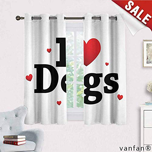 Dog Lover Decor Collection curtains for party decoration,I Love Dogs Sign Domestic Animal Friendship Togetherness Companionship Themed Art Complete Darkness Noise Reducing ,Red Black W63