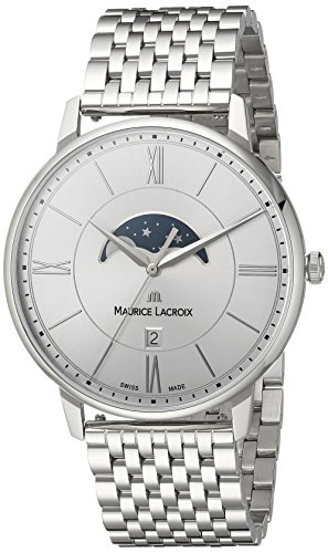 Maurice Lacroix Men's Eliros Quartz Watch with Stainless-Steel Strap, Silver, 20 (Model: EL1108-SS002-110-1)