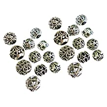 Gorse Charm Pendant Hollow Scatter Beads Mix Antique Silver for Making Bracelet and Necklace DIY 24pcs