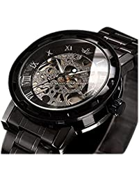 ALPS Men's Classic Skeleton Stainless Steel Mechnical Watch with Link Bracelet (Black)
