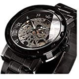 Watch,Mens Watch,Black Retro Classic Skeleton Mechanical Stainless Steel Watch With Link Bracelet,Dress Automatic Wrist Hand-Wind Black Watch