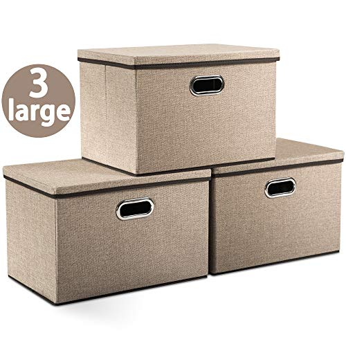 Prandom Large Foldable Storage Boxes with Lids [3-Pack] Jute Fabric Collapsible Storage Bins Organizer Containers Baskets Cube with Cover for Home Bedroom Closet Office Nursery (17.7x11.8x11.8) (Lids Boxes Storage With Big)