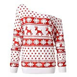 WOCACHI Final Clear Out Christmas Womens Blouses Xmas Reindeer Pullover Skew Neck Sweatshirt Tops Black Friday Cyber Monday Winter Bottoming Shirts Santa Claus Long Sleeve (Red, XX-Large)