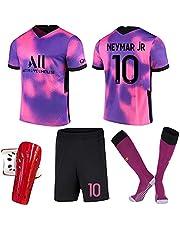 Voetbaltrui Roze paars10# Neymar Zacht Ademend Trainingspakken Paris Away Voetbalshirts Set Kinderen Volwassenen Zomer Strand T-Shirts & Shorts Hoge Kniekousen