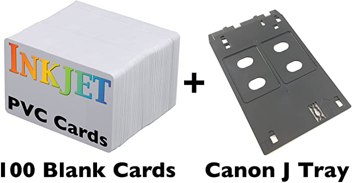 Inkjet PVC ID Card Starter Kit - Includes 100 Cards - Compatible with Canon J Tray Printers (100 Cards)