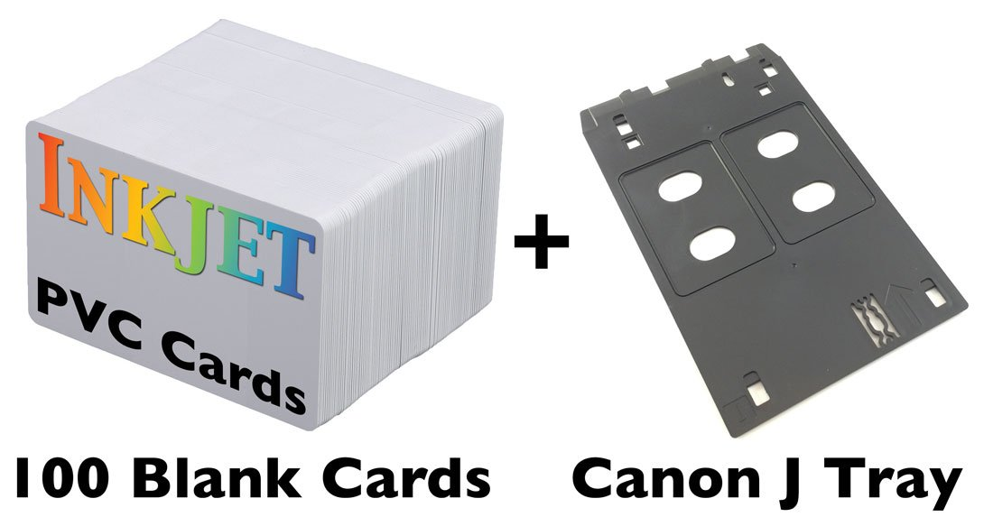 Inkjet PVC ID Card Starter Kit - Includes 100 Cards - Compatible with Canon J Tray Printers (100 Cards) by Brainstorm ID