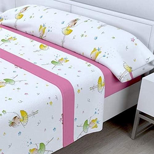 LAS TELAS ... Juego de sábanas Infantil Bailarina (90): Amazon.es ...