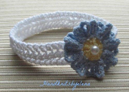 Knitting Pattern Baby Headband with a Crochet Flower