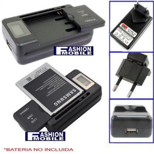 Cargador de baterias universal con Pantalla LCD y salida USB 1250 mAh y conexion a la red (para baterias de ANCHURA DE 32 a 54MM)
