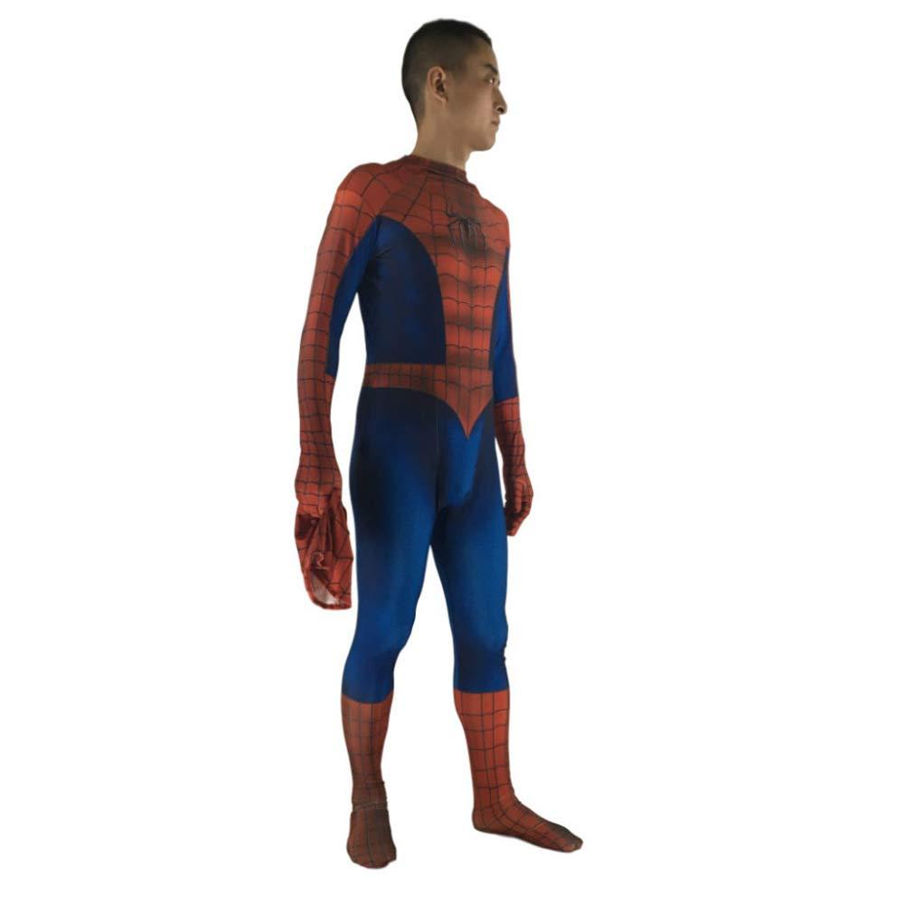 S Rojo + Azul JA Traje de Spiderman Negro Rojo Cosplay Traje de Anime Traje de Spiderman de Halloween Ropa
