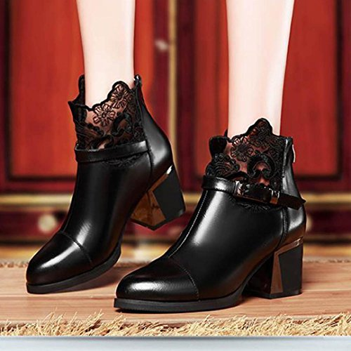 Hauts Talons par Court Bottes Femmes Chaud Hiver Mode Bottes Chaussures Zip Noir Chunky Cuir En MéTal SOMESUN Dentelle Boucle Plaid UZ6xgg