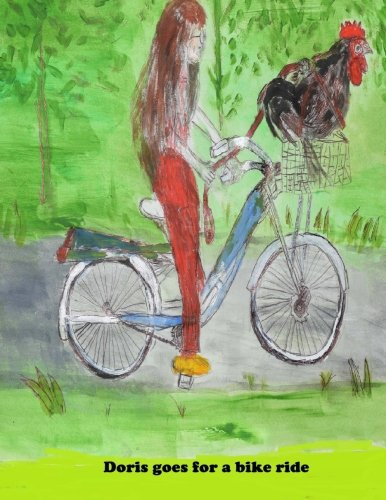 Doris goes for a bike ride.: Doris the rooster rides in the basket of Barbara Lewter's bike. They traveled all over the Heights area of Houston, Texas in this manner. (Texas Bike Rides)