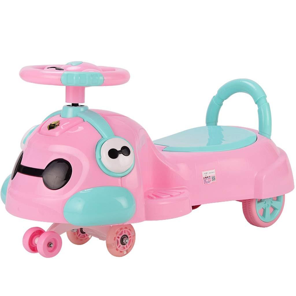 子供用ツイストカー、子供用おもちゃスイングカーLEDライトユニバーサルホイール子供用スイングカー137歳子供用カーヨーヨー男性と女性の赤ちゃんのスクーター  ピンク B07R87L7VN