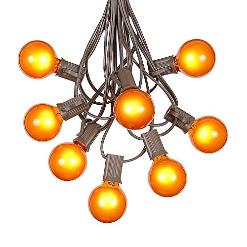 G40 Patio String Lights with 125 Orange Globe Bulbs – Outdoor String Lights – Market Bistro Café Hanging String Lights – Patio Garden Umbrella Globe Lights - Brown Wire - 100 Feet by Novelty Lights