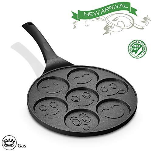 FRUITEAM Smiley Face Pancake Pan Nonstick Griddle 10 Inch Pancake Maker Mini Pancake and Flapjack 7 Mold Emoji Blini Pan for Son Daughter Gifts from - Pan Blini
