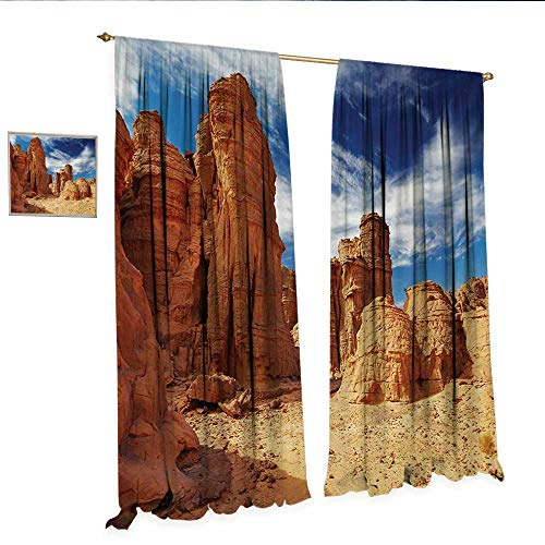 Desert Drapes for Living Room Bizarre Sandstone Cliffs in Sahara Desert Tassili NAjjer Algeria Window Curtain Drape W108 x L108 Navy Blue Mustard - Pearl Sandstone Antique Pearl