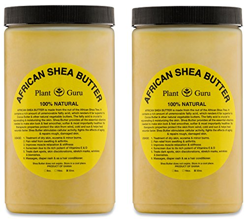 Plant Guru African Shea Butter 32 oz. (2 Pack) Raw Unrefined Grade A 100% Pure Natural Gold/Yellow Body Butters, Lotion, Cream, lip Balm & Soap Making Supplies, Eczema & Psoriasis Aid, Stretch Marks