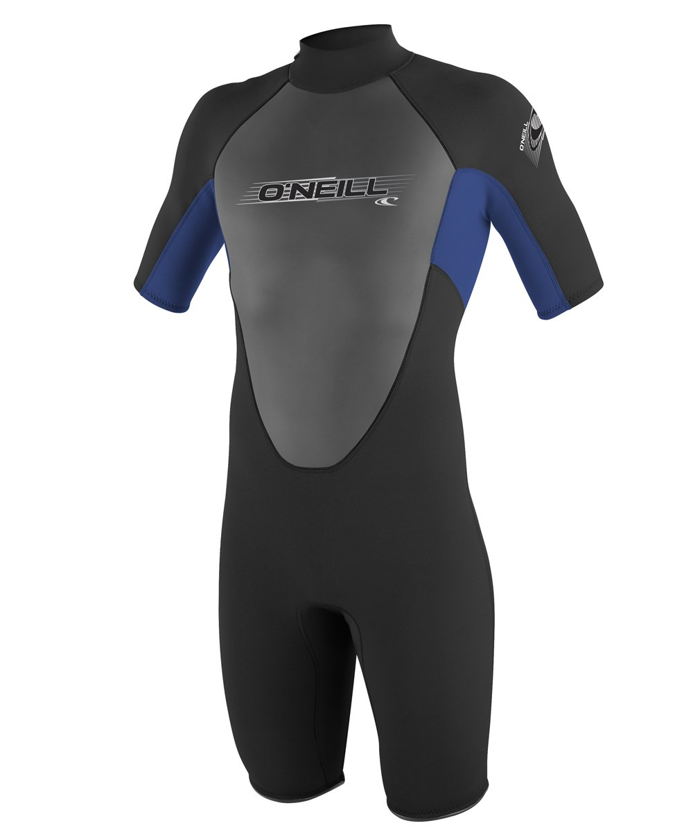 O'Neill Youth Reactor 2mm Back Zip Spring Wetsuit, Black/Pacific/Black, 4 by O'Neill Wetsuits