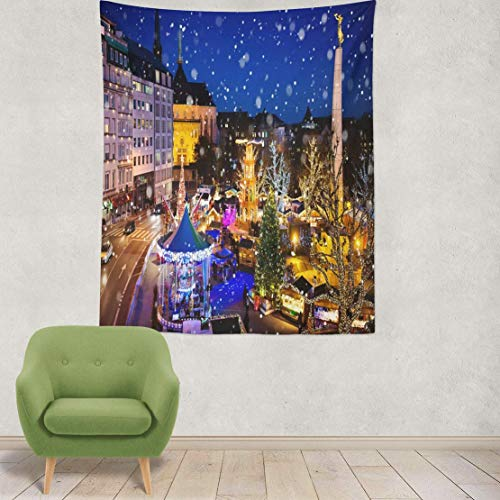 YGUII Tapestry Wall Hanging Christmas Traditional Xmas Market Old European City City Winter Holidays and Wall Tapestry for Bedroom Living Room Tablecloth Dorm 150150cm(60