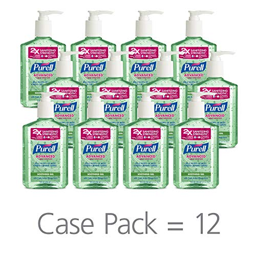 PURELL Advanced Hand Sanitizer Soothing Gel, Fresh scent, with Aloe and Vitamin E- 8 fl oz pump bottle (Pack of 12) - 9674-12-CMR ()