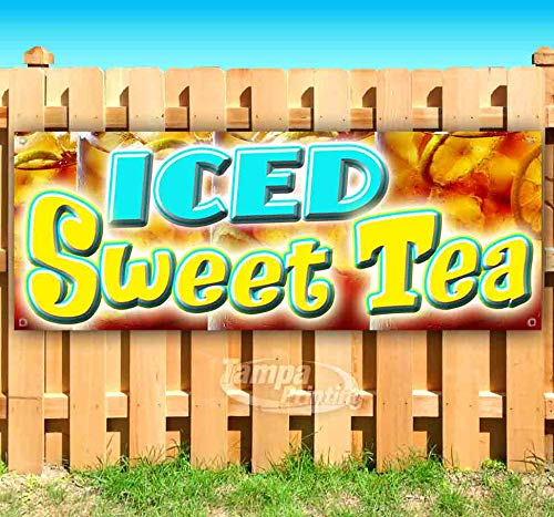 (ICED Sweet Tea 13 oz Heavy Duty Vinyl Banner Sign with Metal Grommets, New, Store, Advertising, Flag, (Many Sizes Available))