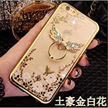 Galaxy Note 5 Case,Secret Garden Butterfly Floral Bling Swarovski Rhinestone Diamond Angel Wing Shape 360 Degree Rotating Ring Kickstand Holder Case for Samsung Galaxy Note 5(Gold-White Flower)