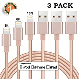 iPhone Charger 3Pack 3FT 6FT 10FT lightning Cable Nylon Braided Charging Cable Cord Compatible X 8Plus 8 7Plus 7 6sPlus 6s 6Plus 6 5s 5 5c SE