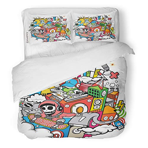 Semtomn Decor Duvet Cover Set King Size Hip Music Downtown Hop Party Street Cartoon Cool Urban 3 Piece Brushed Microfiber Fabric Print Bedding Set Cover]()