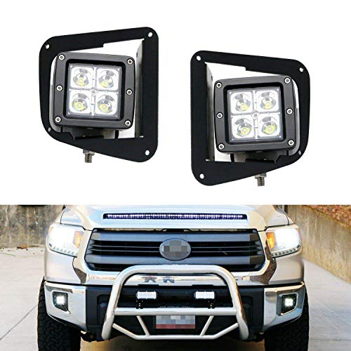 iJDMTOY LED Pod Light Fog Lamp Kit Compatible With 2014-up Toyota Tundra, Includes (2) 20W High Power CREE LED Cubes, Foglight Bezel Covers, Mounting Brackets & Wiring/Adapter Harnesses