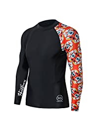 FAFNIR Men's Long Sleeve Rash Guard-UV Protective Compression Swim Shirts
