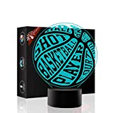 Basketball 3D Xmas Decoration Illusion Night Lamp Beside Table Lamp, Gawell 7 Color Changing Touch Switch Halloween Gift Lamps with Acrylic Flat & ABS Base & USB Cable Sport Ball Lover Theme Toy