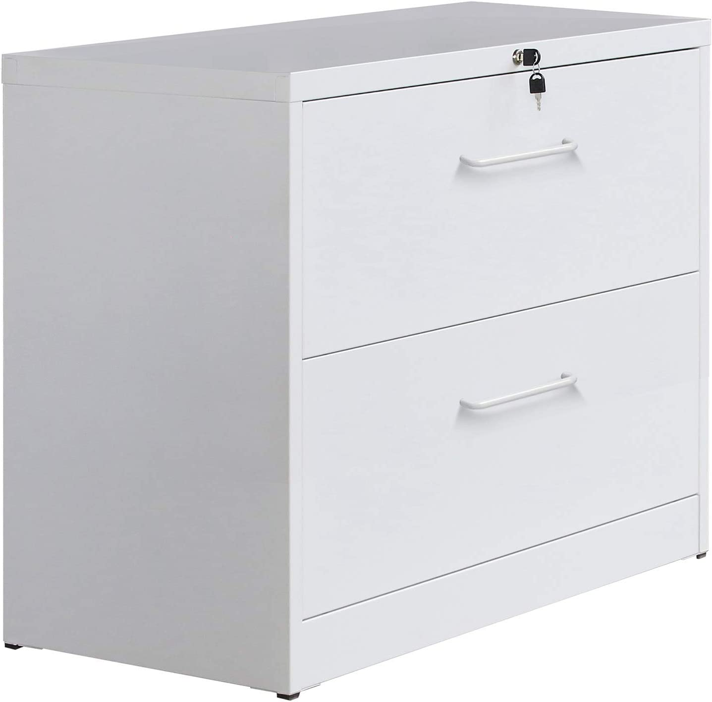 Merax Lateral File Cabinet Anti-tilt Structure Lockable Heavy Duty Metal 2 Drawer File Cabinet with Handle (White)