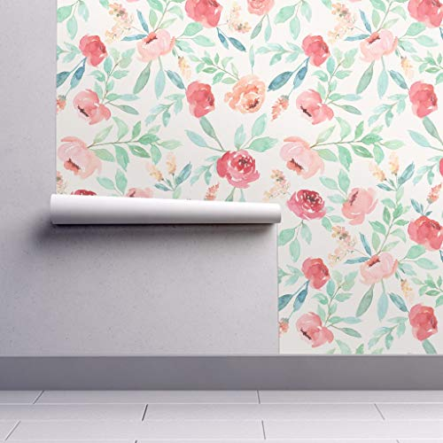 Removable Water-Activated Wallpaper - Watercolor Watercolor Floral Pink Flowers Baby Watercolor Florals Baby Girl by Taylor Bates Creative - 24in x 144in Smooth Textured Water-Activated Wallpaper Roll ()