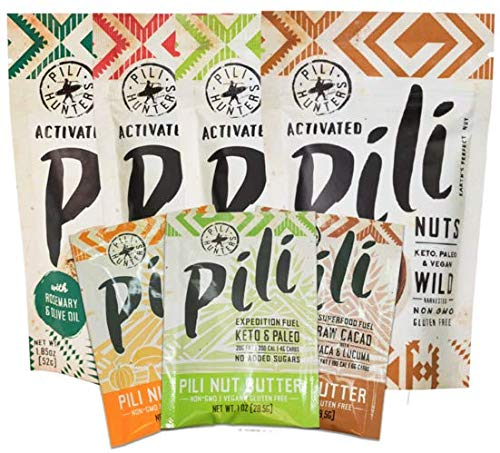 Pili Hunters Ultimate Pili Nut Sampler Pack, Original, Rosemary, Spicy Chili, Regular Butter, Raw Cacao Butter, Lion's Mane Butter - 7-pack