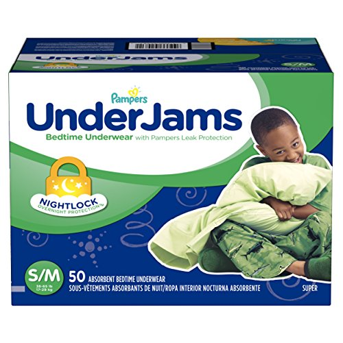 Large Product Image of Pampers UnderJams Disposable Bedtime Underwear for Boys Size S/M, 50 Count, SUPER