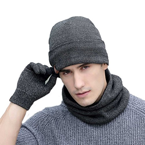 3 Pieces Winter Beanie Hat Scarf Gloves Set, Winter Fleece Lining Warm Knit Hat Thick Knit Skull Cap Neck Warmers Touch Screen Gloves for Men Women (Light Gray) ()