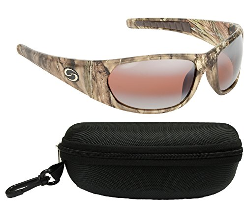 Strike King SG-S1168-CS S11 Optics Polarized SG Champlain Bundle, Mossy Oak Camo Frame with DAB/Amber Lens, with Black - King Sunglasses