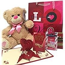 Valentines Day Gift Basket Set | 12 Teddy Bear Plush, Truffles, Hershey Kisses Hazelnut, Ghirardelli Dark Strawberry Chocolate, Almond Roca | 3D Valentine Cupids Card, & V-Day Gift Bag