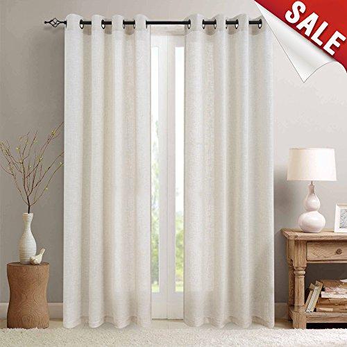Linen Window Panel - jinchan Linen Curtains for Bedroom Linen Textured Light Reducing Window Curtain Panels for Living Room (2 Panels, 95-Inch, Crude)