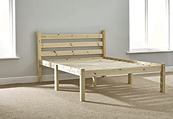 ddec3628973 Double Pine Bed 4ft 6 HEAVY DUTY Wooden Frame with extra wide base slats  and centre
