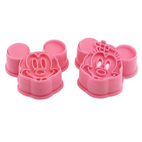 DeColorDulce Mickey Minnie Mouse Cortadores y marcadores Galleta ABS, Plateado, 25x10x3 cm