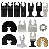ESUMIC 15Pcs Oscillating Saw Blade Grinding Rasp Kit for RockWell Sonicrafter Work Oscillating Multitool Accesory