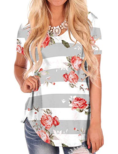 - Print Tops for Women Short Sleeve Floral T Shirts V-Neck Soft White Tees Grey XL